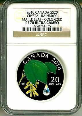 2010 Canada S$20 Swarovski Crystal Raindrop Maple Leaf Colorized NGC PF70 UC