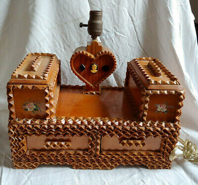VTG Chip Carved Wood Tramp Folk Art Jewelry Sewing Box Lamp Drawers Primitive