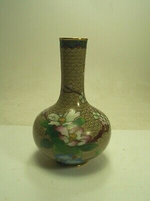Antique Chinese Cloisonne Enamel Brass Tan Floral Vase