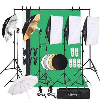 "45W Photography Video Studio Lighting Kit Background Stand Set 3x33"" Umbrella"