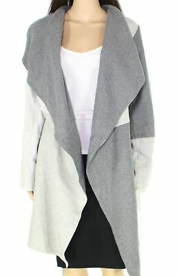 Alfani Womens Jacket Light Gray Size S/M Colorblock Belted Boiled-Wool $179 #138