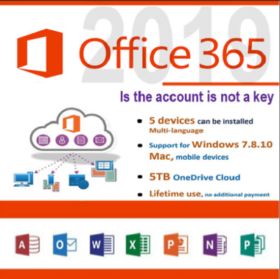 Microsoft Office 365 2016/2019 PRO PLUS Licenza a vita/ 5 dispositivi 5TB