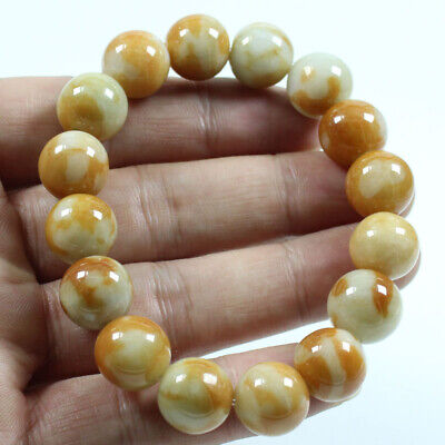 Certified Grade A  Jadeite Jade Brown 14mm Beads hand chain Bracelets  j811