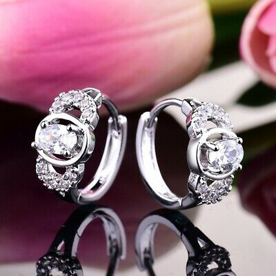 Sparkly Sapphire Crystal Lady Wedding Party White Gold Filled Huggie Earrings