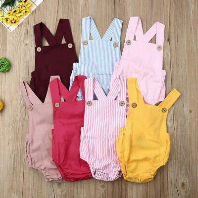 Toddler Baby Kids Girls Boys Sleeveless Solid&Stripe Romper Sun Suit Clothes Set