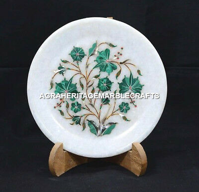 "6"" Glamorous Marble Round Plate Malachite Design Occasional Table Decor H5403"