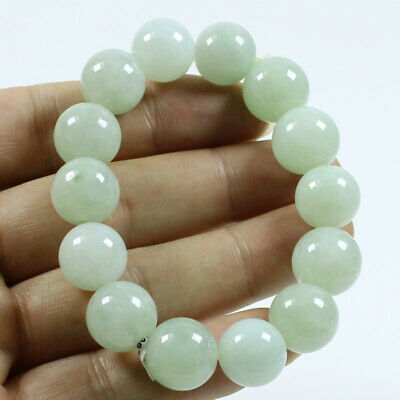 Certified Grade A Ice Green Jadeite 14mm Beads hand chain Bracelet Bangle j368