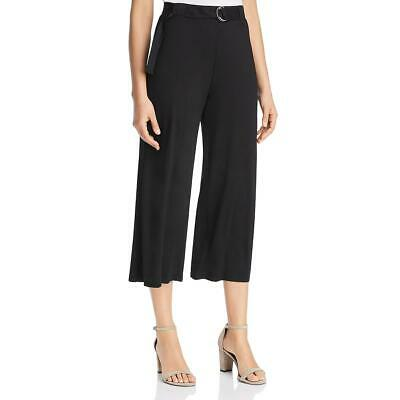 Three Dots Womens Black Cropped Belted Wide Leg Culottes M BHFO 7804