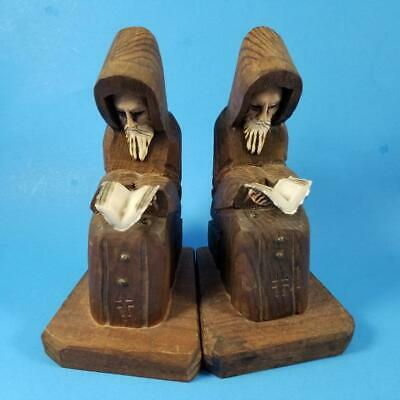 Vintage Friar Monk Hand Carved Wood Bookends Priest Read Book Bible Hood Wooden