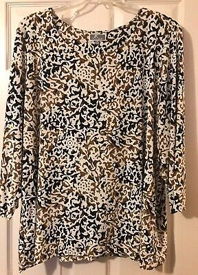 JM Collection womens top blouse 3X stretch, Swirls Black, Brown And Ivory. EUC.