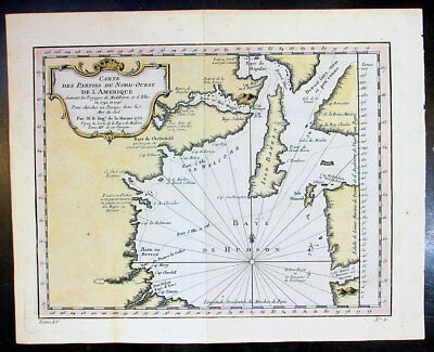 1753 Bellin & Henry Ellis Antique Map of Hudsons Bay, Search for the NW Passage
