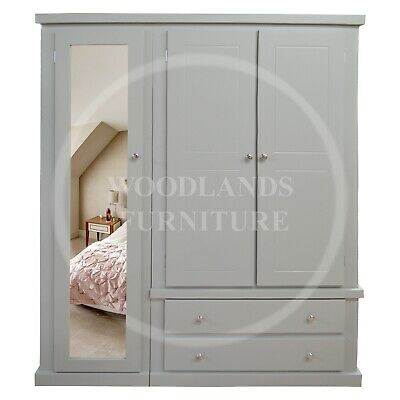 Handmade Dewsbury Triple Full Mirrored Wardrobe  In Grey (Assembled