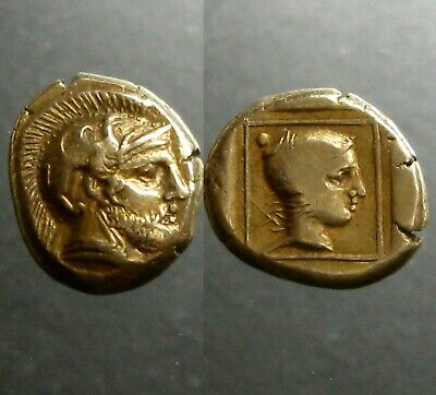 MYTILENE LESBOS ELECTRUM (GOLD/SILVER) HEKTE__412-378 BC__Helmeted Ares & Amazon