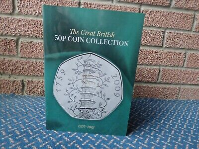50p coin collection in album including genuine 2009 Kew Gardens
