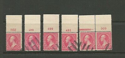# 267, 279B Used. 15 different Plate # singles & pairs. Few small faults.
