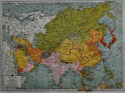 Vintage 1942 Atlas Map World War WWII Asia China USSR Japan MidEast Iran + L@@K!