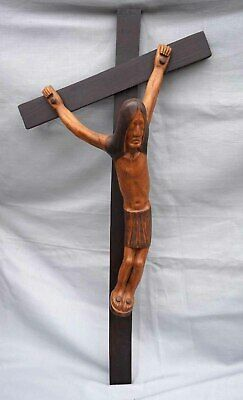 Christ on Crucifix Camille Boucher Quimper French Art Deco Carved Wood Sculpture