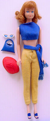 1964-67 TITIAN REDHEAD MIDGE DOLL in BARBIE BLUE KNIT TOP w GOLD SLACKS & HEELS