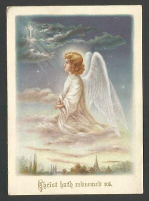 G66 - Large Victorian Religious Scripture Motto Card - Angel On Clouds