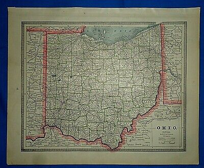 Vintage 1884 MAP ~ OHIO ~ Old Antique Original Atlas Map