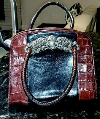 Vintage BRIGHTON  Black Brown Croc-embossed Leather Purse WITH WOVEN LEATHER STR