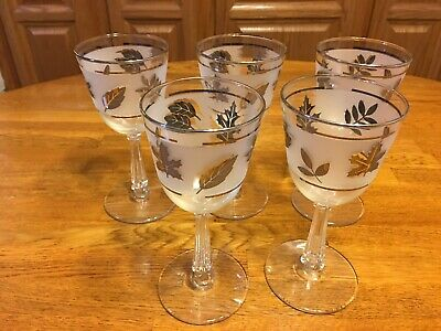 Libbey Silver Leaf Frosted Small Wine Glasses Set of 5