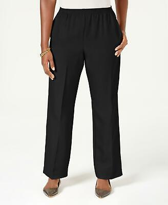 Karen Scott 2784 Size L-Short NEW Black Solid Straight-Leg Pants 2-Pockets $39