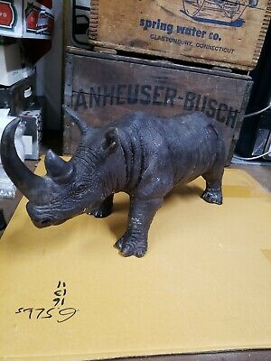 Vintage Huge Brass Rhino Sculpture Very Detailed Rare Heavy Piece.