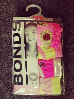 Bonds Girls Bikini Size 6 8 Pink Yellow Brand New Flower Bee Underwear