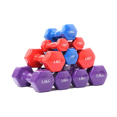 0.5-5KG Hexagonal Dumbbells Cast Iron Weights Lady Home Gym Workout Aerobic L5F0