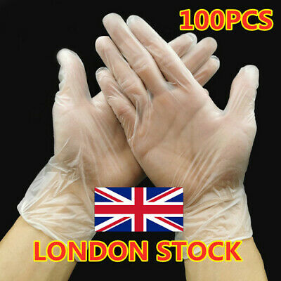 100x Clear Powdered Vinyl Gloves Latex Free Disposable Medical Food Rubber UK
