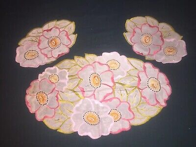 Vintage Doilies - Embroidered Floral Silk Like Material - Bright Flowers -Faults