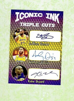 Iconic Ink Lebron James, Kobe Bryant Anthony Davis Auto RP RARE