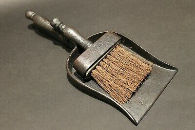 Antique Primitive Vintage Style Solid Cast Iron Fireplace Tools Dust Pan & Broom