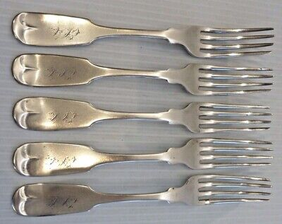 """Five """"Clark & Co."""" American Coin Silver Dinner Forks, Fiddle Pattern"""