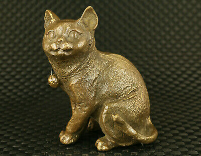 Chinese old bronze handmade cat statue figure home table collect decoration gift