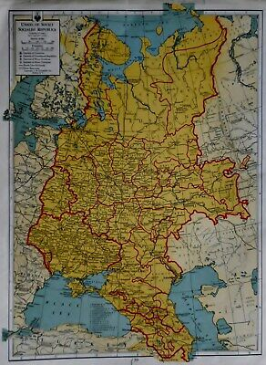 Vintage 1942 Atlas Map World War WWII Russia USSR & South Central Europe L@@K!