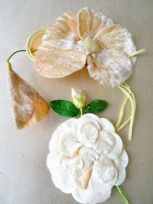 Two Beautiful Antique Art Deco Large Corsage Flowers