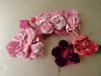 Two Beautiful Antique Art Deco Large Pink Corsage Flowers