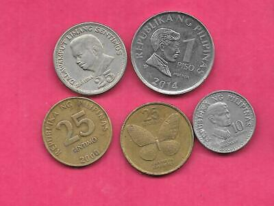 Philippines 5 Different 1972 2014 Used Coin Lot Collection Set Group Inc Old