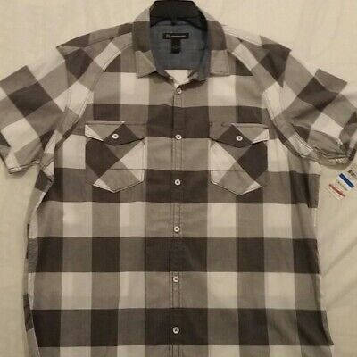 New With Tags Men's- INC International Concepts  XL Gray and white plaid Shirt