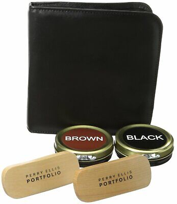 Perry Ellis Portfolio Black Brown Five Piece Flat Shoe Shine Kit $47 #358