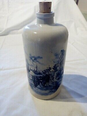 Ter Steege Bv Delft Decorated Holland 1984 Apostel Fisherman Bottle With Cork