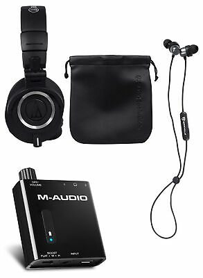 Audio Technica ATH-M50X Pro Studio Monitor Earbuds+Amplifier+Earbuds