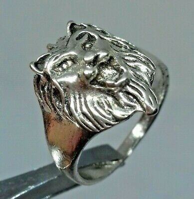 Ancient Rare Roman Ring Silver Legionary Lion Head Old Ring Artifact