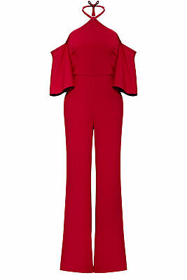 Sachin & Babi Women's Jumpsuit Red Size 6 Halter Neck-Tie Wide-Leg $650- #974