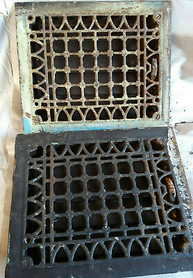 2 Antique Cast Iron Heating Grates Victorian Raised Flower Design Louvers PAIR