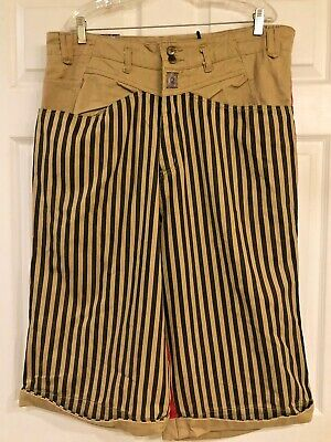 VTG 90s Hip Hop Rap Denim Jean Shorts Striped Tan Color Block  NWT 38