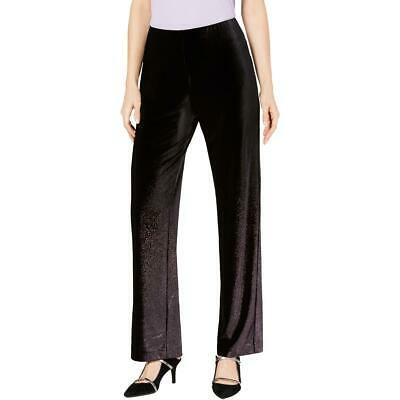 Alfani Womens Black Velvet Foil Pull On Wide Leg Pants M BHFO 7351