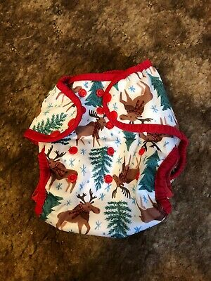 Thirsties Cloth Diaper, One Size Pocket Diaper, Snap Merry Moosemas, Stay Dry